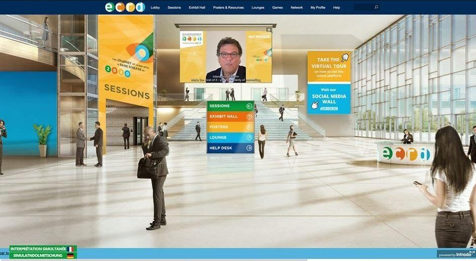A screenshot of a virtual conference hall