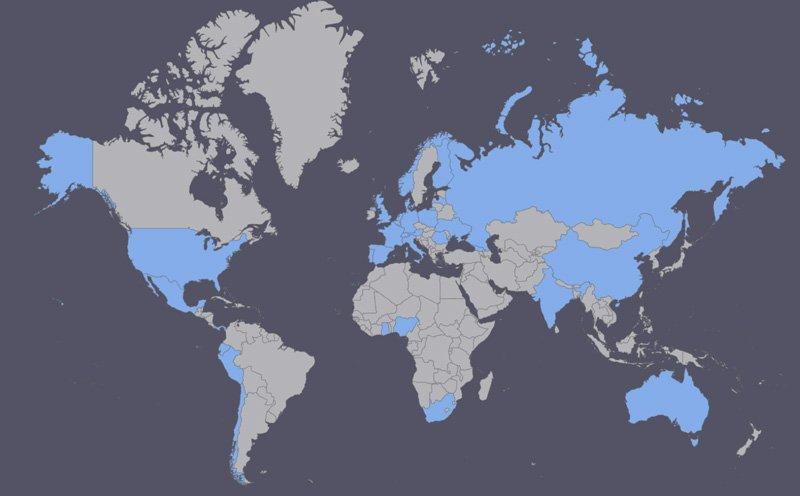 World map OIFE members