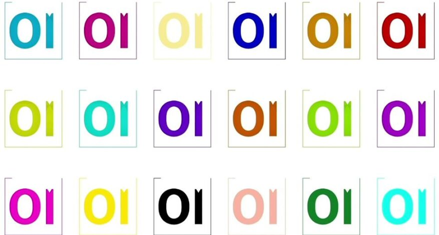 OI written 18 times in different colors.