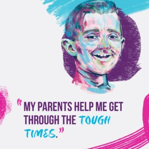 Graphic of boy smiling and a quote.