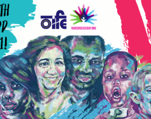 Colorful graphic of six people with rare diseases and logos of OIFE and EURORDIS
