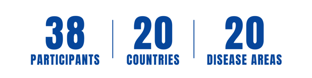 38 participants, 20 countries, 20 disease areas