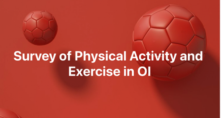 Ilustration of 3 soccer balls with text Survey of Physical Activity and Exercise in OI